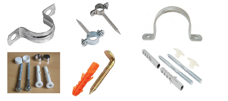 Galvanised clamps clevis hangers bolts pipe nail